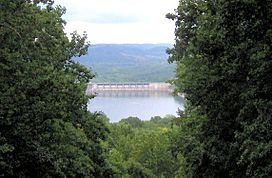 View of Center Hill Dam from visitor center observation tower