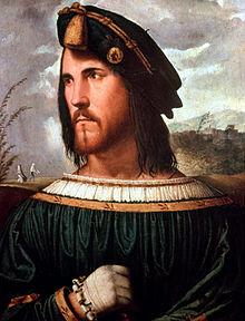 Portrait supposé de César Borgia par Altobello Melone. Galerie de l'académie Carrara, Bergame.