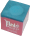 A cube of blue chalk with a paper wrapper on all sides but one; an rounded indentation appears at the top where a cue would be chalked
