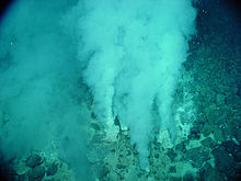 White smokers emitting liquid carbon dioxide at the Champagne vent, Northwest Eifuku volcano, Marianas Trench Marine National Monument