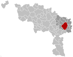 Localisation de Charleroi dans l'arrondissement de Charleroi et la Province de Hainaut