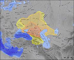 Map showing extent of Khazar lands