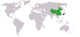 Map indicating locations of China and Taiwan