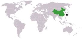 Map indicating locations of China and Taiwan