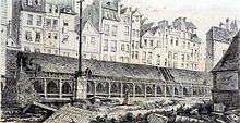 Le cimetière des Innocents vu du côté de la rue aux Fers, actuelle rue Berger, en 1786.