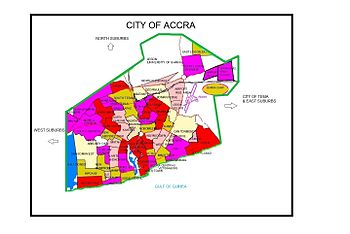 Map showing the location of Accra's neighborhoods