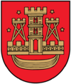 A coat of arms depicting a golden castle with three turrets surrounded with four golden stars all on a red background