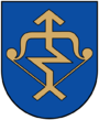 A coat of arms depicting a golden arrow with a zig-zag in the middle of it pulled back on a golden bow all on a blue background
