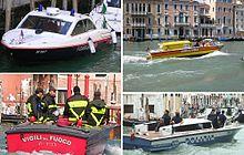 Da in alto a sinistra in senso orario: Carabinieri, idroambulanza, Polizia, Vigili del Fuoco