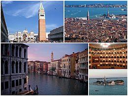 In senso orario: il Campanile di San Marco, una panoramica della città, il Gran Teatro La Fenice, l'isola di San Giorgio Maggiore e il Canal Grande