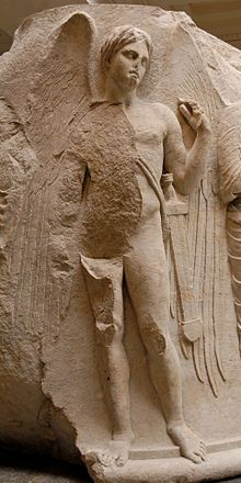 Thanatos as a winged and sword-girt youth. Sculptured marble column drum from the Temple of Artemis at Ephesos, c.325–300 BC.