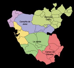 Carte des comarques de la province de Cadix
