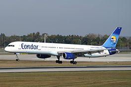 Boeing 757-300 van Condor in de nieuwe kleurstelling.