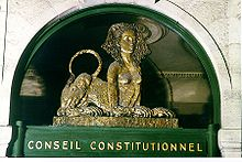 Pediment above the entrance to the offices of the Constitutional Council