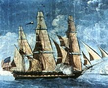 A painting depicting Constitution at sail. The bow of the ship points to the right of the frame