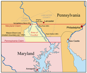 The Maryland-Pennsylvania boundary dispute, the conflict occurred in the Conejohela Valley with the northern apex just north of the mid-river Coejohela Flats islands, south of Wrightsville, Pennsylvania, which are now inundated after the Safe Harbor Dam flooded the upper Coejoheala under Lake Clarke.