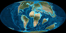 A map of Earth during the Early Paleocene, showing Madagascar separated from Africa, India, and Antarctica; all continents much closer together, India is half way between Madagascar and Asia, and shallow seas cover parts of Europe, Asia, Arabia, and northern Africa