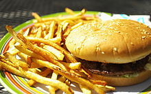 Burger and fries, one of many types of dishes common to the United States
