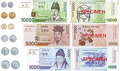 Currently circulating coins and banknotes
