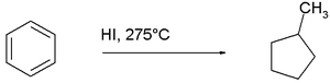 reduction of benzene to methylcyclopentane