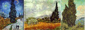 (a) Route avec un cyprès et une étoile (b) Champ de blé avec cyprès (c) Cyprès
