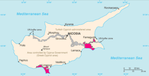 Akrotiri and Dhekelia Sovereign Base Areas indicated in pink.