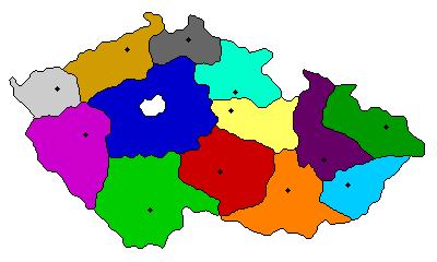 מפת צ'כיה בחלוקה לאזורים