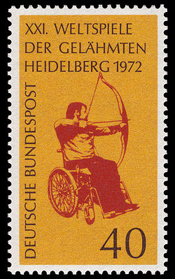 German stamp: XXI. Weltspiele der Gelähmten Heidelberg 1972 (The image and color on the stamp is identical to the 1972 emblem)