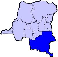 Localisation du Katanga (en bleu foncé) à l'intérieur de la République démocratique du Congo.