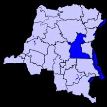Localisation du Maniema (en bleu foncé) à l'intérieur de la République démocratique du Congo