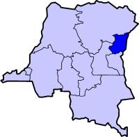 Localisation du Nord-Kivu (en bleu foncé) à l'intérieur de la République démocratique du Congo