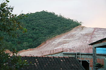 Deforastation of native rain forest in Rio de Janeiro City for extraction of clay for civil construction