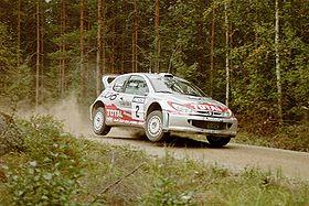 Didier Auriol, lors du rallye de Finlande 2001