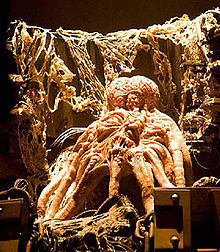 A brightly illuminated octopus-like creature, surrounded by machinery coated in strands of fibrous organic material, gazes upward with its single eye.