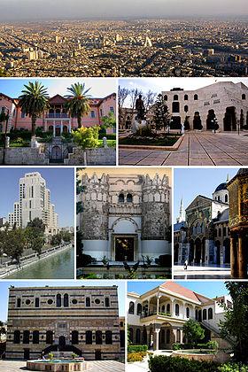 De gauche à droite, de haut en bas: Vue panoramique de Damas  Université de Damas - Opéra de Damas  Hôtel Four Seasons Damas - Musée national de Damas - Grande mosquée des Omeyyades  Palais Azm - Maktab Anbar