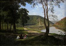 Painting of river, with a sailing boat on it, with trees and grassy areas to the left