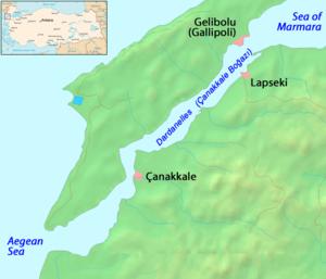 Mapa de la región del estrecho de los Dardanelos.