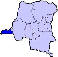 Localisation du Bas-Congo (en bleu foncé) à l'intérieur de la République démocratique du Congo