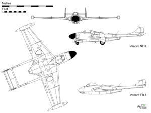 Orthographically projection of the Venom NF 3, with profile of the FB 1 (FB 50 similar).