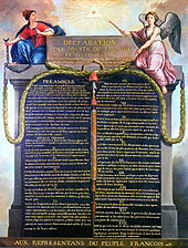 """Picture of a painting; the painting is of a written declaration; there are two human images to the left and right; it says """"Declaration des droits de l&squot;homme"""" (declaration of the rights of man)"""