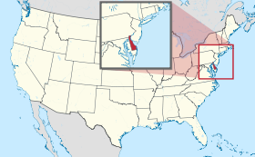 Map of the United States with Delaware highlighted