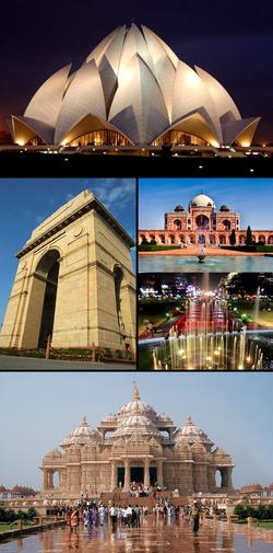 Points d'intérêt de New Delhi - De gauche à droite, depuis le haut: 1) Temple du Lotus; 2) Porte de l'Inde; 3) Tombe de Humayun; 4) Connaught Place; 5) Temple Akshardham