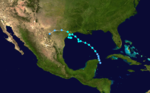 The track of a tropical storm starts along the eastern tip of the Yucatan Peninsula. It heads northwestward into the Gulf of Mexico, and on reaching a position south of Louisiana, it meanders erratically towards Texas.