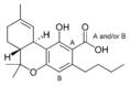 Chemical structure of Δ9-tetrahydrocannabinolic acid-C4