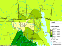 Map diagram showing median family income levels in Denton County.  The southern area has a median family income in the $91,630 to $106,016 range. The northern area has a median range between $65,517 and $75,261. Downtown area has the lowest range at $23,828 to $41,453.