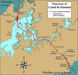 Carte du canal de Panamá; le lac Gatún est visible sur la gauche de la carte.