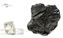 Diamond and graphite, two allotropes of carbon