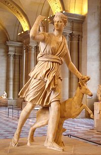 The Diana of Versailles, a Roman copy of a Greek sculpture by Leochares(Louvre Museum)