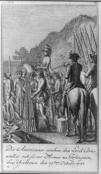 Los patriotas hacen prisionero a Lord Cornwallis y su ejército, cerca de Yorktown el 19 de octubre.