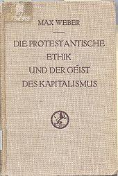 Couverture de l'édition originale de L'éthique protestante et l'esprit du capitalisme